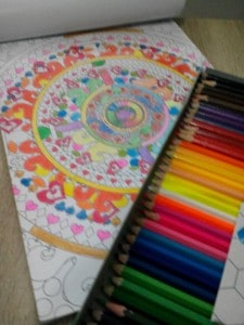 I'm almost finished with coloring this page from my Mandala Coloring book. I really love the experience and it has helped me to relax and detoxify my soul.